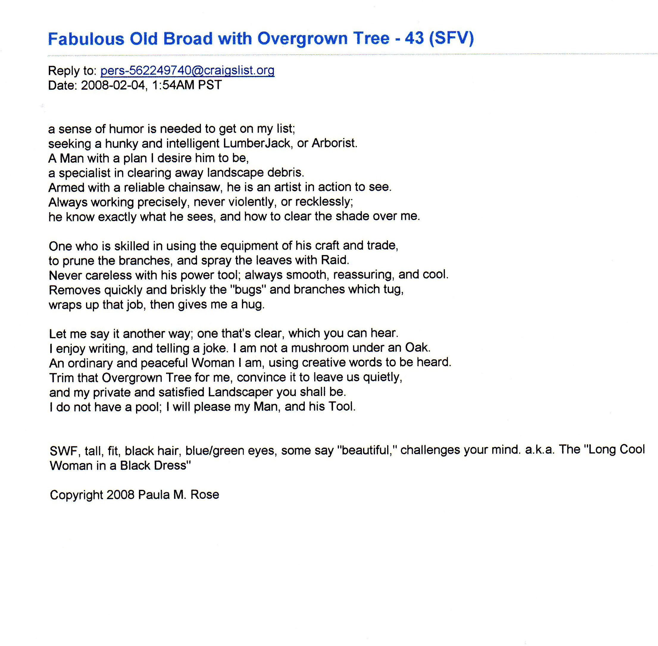 FOB: Fabulous Old Broad; a term that I use to describe myself. (Click