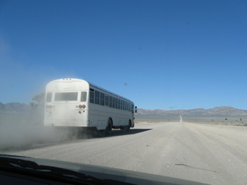 Bus on Groom Lake Road